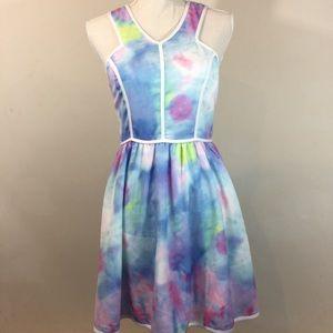 {Tea & Cup} Sleeveless Watercolor Dress Back Zip
